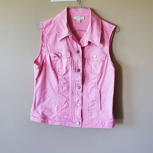 Dress Barn Pink L Cotton Vest Jacket
